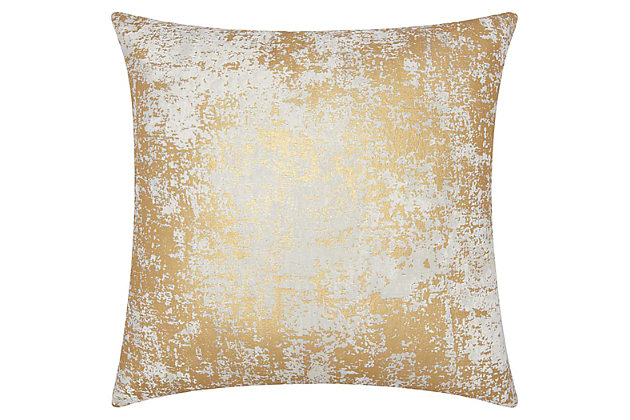 Modern Distressed Metallic Luminescence Gold Pillow, , large