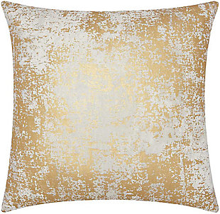 Modern Distressed Metallic Luminescence Gold Pillow, , rollover