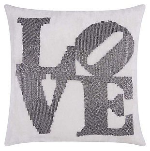 Modern Fully Beaded Love Luminescence Pewter Pillow, , large