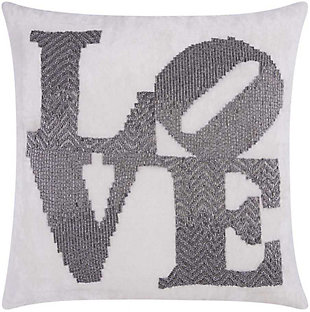 Modern Fully Beaded Love Luminescence Pewter Pillow, , rollover