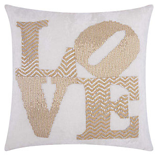 Modern Fully Beaded Love Luminescence Silver Gold Pillow, , large