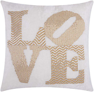 Modern Fully Beaded Love Luminescence Silver Gold Pillow, , rollover