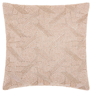 Modern Beaded Basket Weave Luminescence Blush Pillow, , large