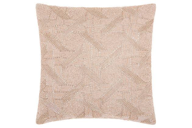 Modern Beaded Basket Weave Luminescence Blush Pillow, Pink, large