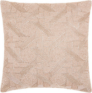 Modern Beaded Basket Weave Luminescence Blush Pillow, Pink, rollover