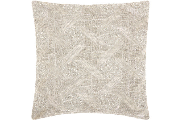 Modern Beaded Basket Weave Luminescence Silver Pillow, Silver, large