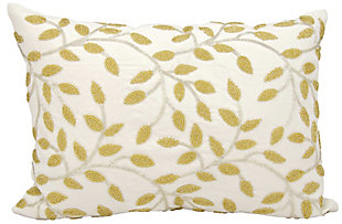 Modern Beaded Vines Luminescence Silver Gold Pillow, , rollover
