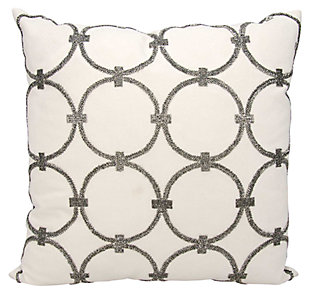 Modern Circles Luminescence Pewter Pillow, White/Gray, large