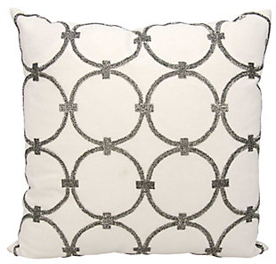 Modern Circles Luminescence Pewter Pillow, White/Gray, rollover
