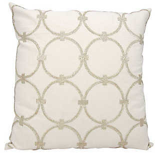 Modern Circles Luminescence Silver Pillow, , rollover