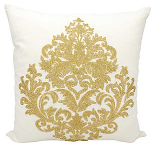 Modern Beaded Damask Luminescence Gold Pillow, , large