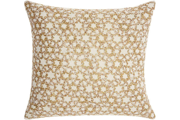 Modern Small Silver Stars Luminescence Silver Gold Pillow, , large