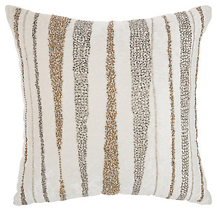 Modern Beaded Waves Luminescence Nude Pillow, Multi, large