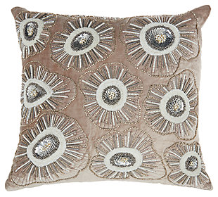 Modern Beaded Flower Blossom Luminescence Nude Pillow, , large