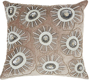 Modern Beaded Flower Blossom Luminescence Nude Pillow, , rollover