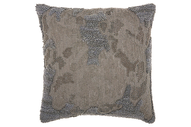Modern Distressed Texture Luminescence Charcoal Pillow, , large