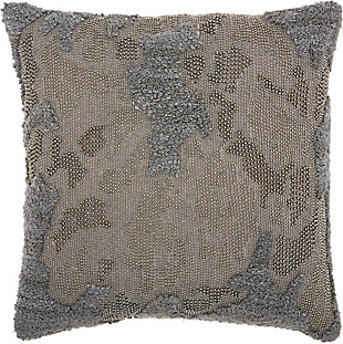 Modern Distressed Texture Luminescence Charcoal Pillow, , rollover