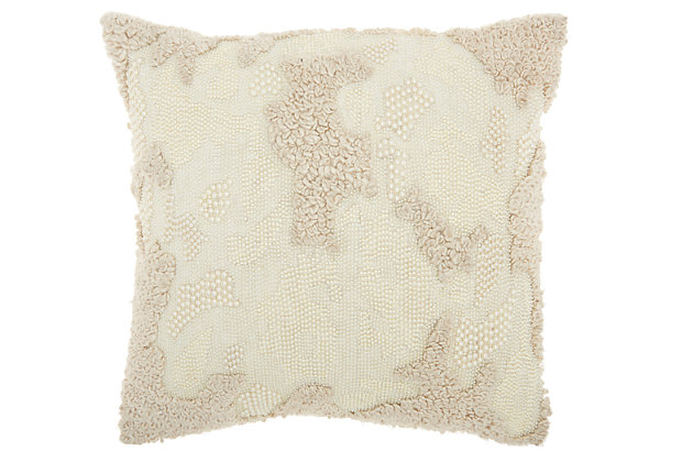 Modern Distressed Texture Luminescence Ivory Pillow, , large