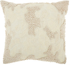 Modern Distressed Texture Luminescence Ivory Pillow, , rollover
