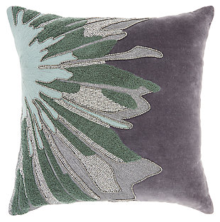 Modern Beaded Floral Burst Luminescence Grey Pillow, , large
