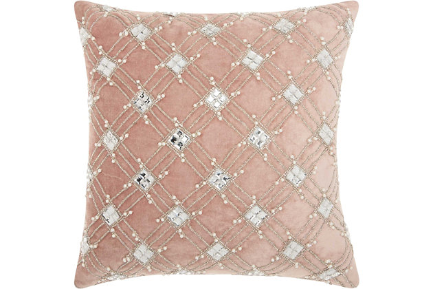 Modern Diamond Lattice Luminescence Rose Pillow, , large
