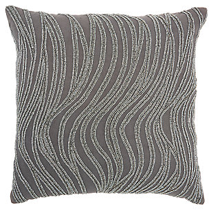 Modern Beaded Waves Luminescence Grey Pillow, , large