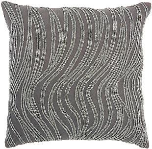 Modern Beaded Waves Luminescence Grey Pillow, , rollover