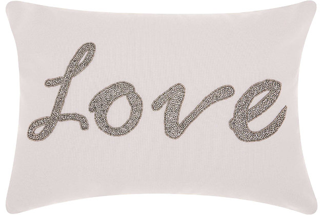 Modern Beaded Love Luminescence Silver Grey Pillow, White/Gray, large