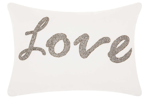 Modern Beaded Love Luminescence White Pillow, Silver/White, large