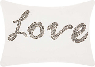 Modern Beaded Love Luminescence White Pillow, Silver/White, rollover