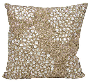 Modern Fully Beaded Luminescence Beige Pillow, , large