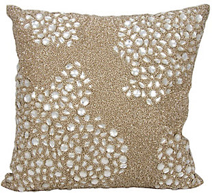 Modern Fully Beaded Luminescence Beige Pillow, , rollover