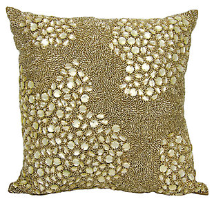 Modern Fully Beaded Luminescence Light Gold Pillow, Gold, large