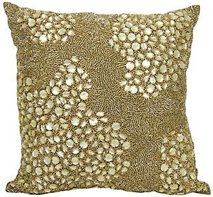 Modern Fully Beaded Luminescence Light Gold Pillow, Gold, rollover