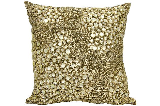Modern Fully Beaded Luminescence Light Gold Pillow, Gold, large