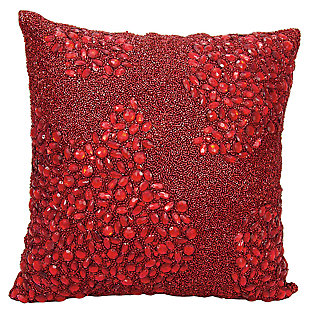Modern Fully Beaded Luminescence Scarlet Pillow, , large