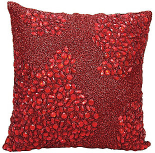 Modern Fully Beaded Luminescence Scarlet Pillow, , rollover