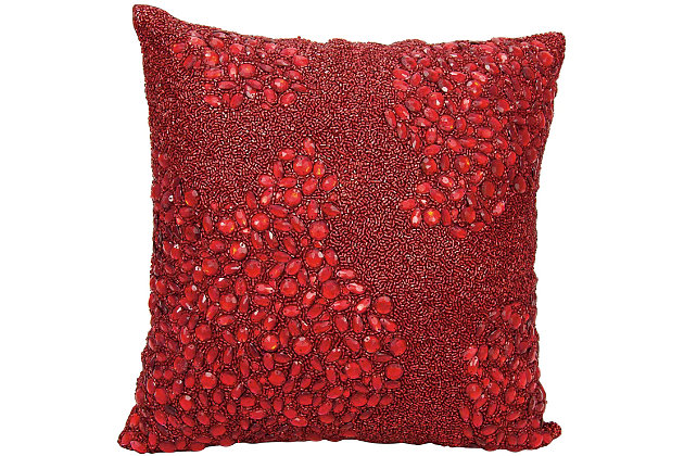 Modern Fully Beaded Luminescence Scarlet Pillow, Red, large