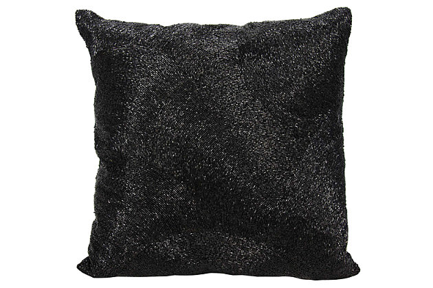 Modern Beaded Fan Luminescence Black Pillow, Black, large