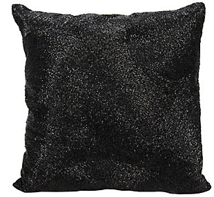 Modern Beaded Fan Luminescence Black Pillow, Black, rollover