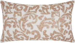 Modern Beaded Leaves Luminescence Champagne Pillow, , rollover