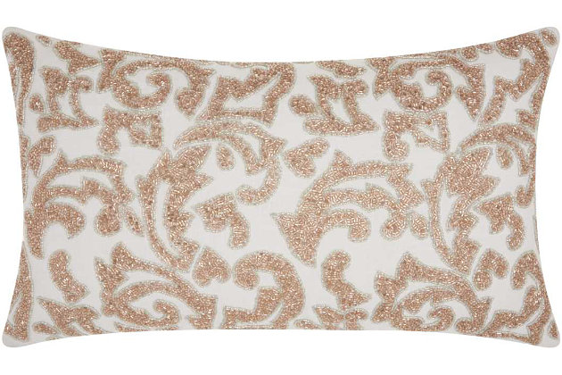 Modern Beaded Leaves Luminescence Champagne Pillow, , large