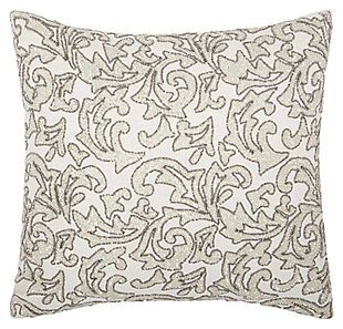 Modern Beaded Leaves Luminescence Silver Pillow, , large