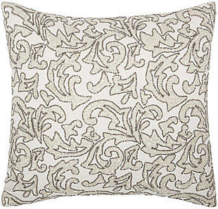 Modern Beaded Leaves Luminescence Silver Pillow, , rollover