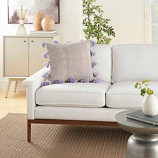 Modern Tassel Border Life Styles Lavender Pillow, Purple, rollover