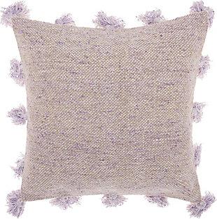 Modern Tassel Border Life Styles Lavender Pillow, Purple, large