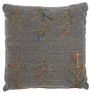 Modern Sari Figures Life Styles Charcoal Pillow, , large