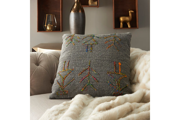 Modern Sari Figures Life Styles Charcoal Pillow, , large