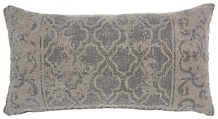 Modern Distress Lattice Life Styles Gray Pillow, , large
