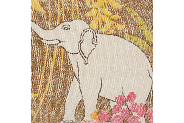 Modern Lucky Elephants Life Styles Multicolor Pillow, , large